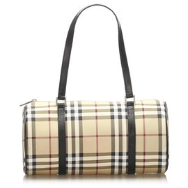 Burberry-Burberry Brown House Check Handbag-Brown,Multiple colors,Beige