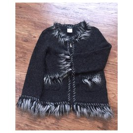Chanel-alpaca/cashmere jacket-Dark grey
