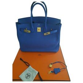 Hermès-sac hermes birkin-Bleu