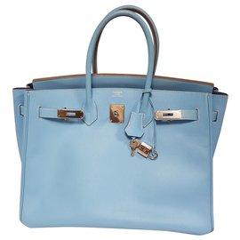 Hermès-Birkin 35  Candy celeste-Blue,Light blue