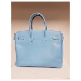 Hermès-Birkin 35  Candy Celeste-Bleu,Bleu clair