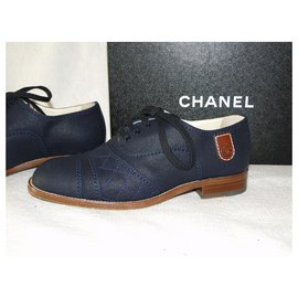 Chanel-CHANEL derbies in thick canvas p38,5 perfect condition + box-Navy blue