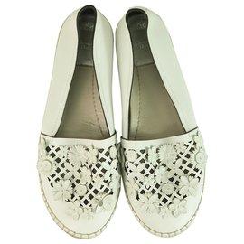 Christian Dior-Christian Dior White Leather Laser Cut Floral Embellished Flore Espadrilles 38 $1,350-White