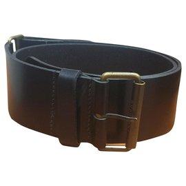 Burberry-Burberry black leather belt-Black