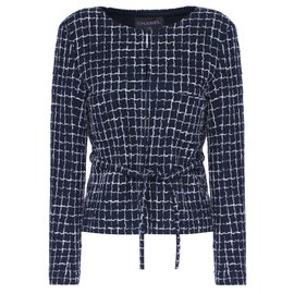 Chanel-Runway jacket with belt-Navy blue