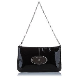 Mulberry-Mulberry Black Charlie Patent Leather Clutch Bag-Black