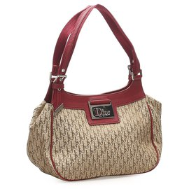 Dior-Dior Brown Dior Oblique Canvas Sac à main-Marron,Rouge,Beige,Bordeaux
