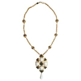 Chanel-Iconic cross necklace-Black,White,Golden