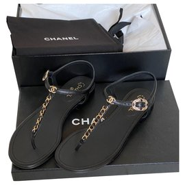 Chanel-leather sandal-Black