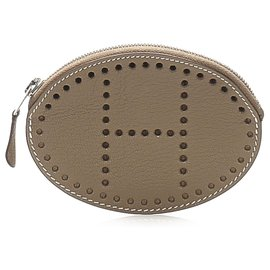 Hermès-Hermes Brown Evelyn Leather Coin Pouch-Brown