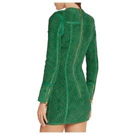 Balmain-Green woven suede dress-Green