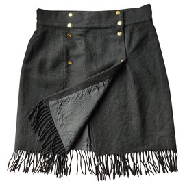 Chanel-Vintage cashmere wrap skirt-Black