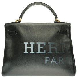 Hermès-Splendid creation of Hermès Kelly shoulder bag 32 returned in black epsom customized with Pink Croco and the artist PatBo!-Black,Multiple colors