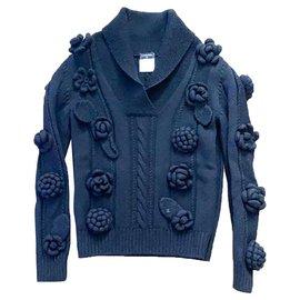 Chanel-Flower Crochet sweater-Black