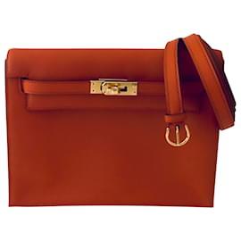 Hermès-Kelly Danse II Terre Battue swift leather gold hardware-Orange