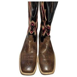 Autre Marque-ARIAT size 47 Tombstone Thunder Square Toe Western Brown Patent Cowboy Riding Boots-Brown