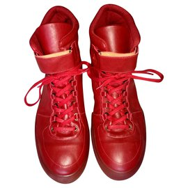 Autre Marque-KAY SWISS Men's Size 50 Red Leather High Court Sneakers Trainers-Red