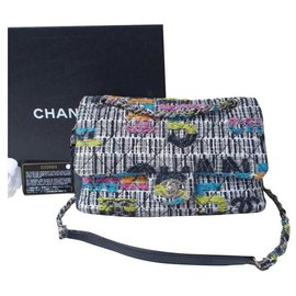 Chanel-Sac moyen à rabat facile à rabat moyen en tweed fantaisie multicolore et agneau noir Chanel-Multicolore