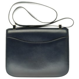Hermès-Limited edition / Splendid Hermès Constance bag 23 in navy box leather, navy enamel and gold-plated buckle-Navy blue