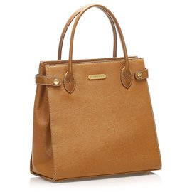Burberry-Burberry Brown Leather Handbag-Brown