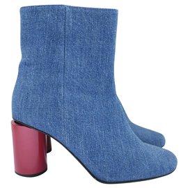 Acne-Althea Denim Ankle Boots-Blue