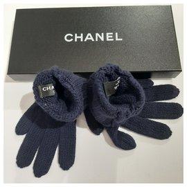 Chanel-Gants en cachemire-Bleu foncé