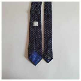 Paul Smith-Paul Smith dark navy blue silk tie with polka dots-Navy blue
