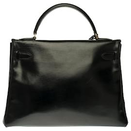 Hermès-Very beautiful Hermes Kelly Bag 32 Upside down in custom black box leather with black crocodile, gold-plated metal fittings-Black