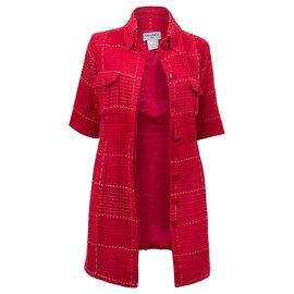 Chanel-Veste longue Chanel en tweed  rouge et blanc-Rouge