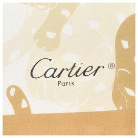 Cartier-Foulard en soie imprimée marron Cartier-Marron,Beige