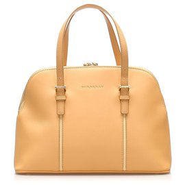 Burberry-Burberry Brown Leather Handbag-Brown,Beige