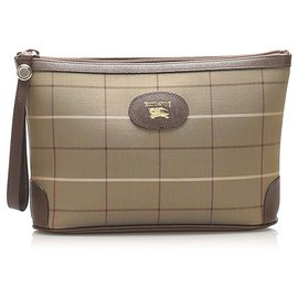 Burberry-Burberry Brown Plaid Canvas Pouch-Brown,Multiple colors,Beige