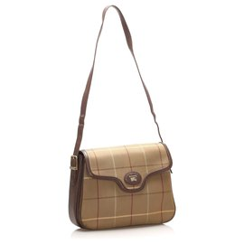 Burberry-Burberry Brown Plaid Canvas Crossbody Bag-Brown,Multiple colors,Beige
