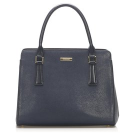 Burberry-Burberry Blue Leather Handbag-Blue,Navy blue