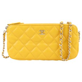 Chanel-Chanel Yellow CC Caviar Leather Wallet on Chain-Yellow