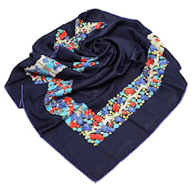 Cartier-Foulard en soie imprimée bleu Cartier-Bleu,Multicolore,Bleu Marine