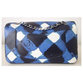 Chanel-Sac Chanel Classique medium-Noir,Blanc,Bleu