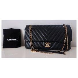 Chanel-Sac Chanel Classique chevron Gm-Noir