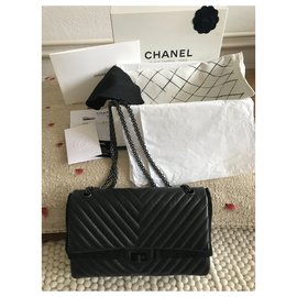 Chanel-Timeless Classic Reissue Chevron SO NOIR-Noir