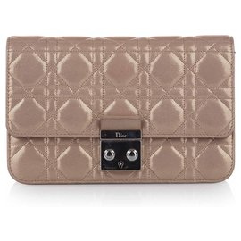 Dior-Dior Brown Cannage Miss Dior Promenade Chain Crossbody Bag-Marron,Beige