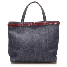 Burberry-Burberry Blue Denim Tote Bag-Brown,Blue,Beige,Navy blue