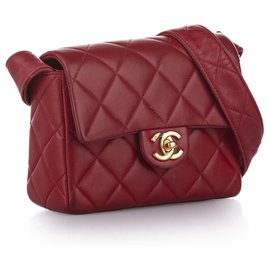 Chanel-Sac à rabat en cuir d'agneau carré rouge Chanel Mini Classic-Rouge