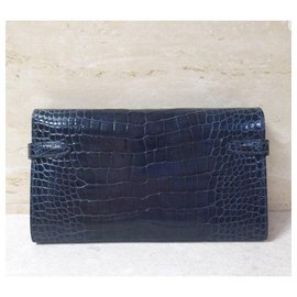 Hermès-Hermes Kelly Long Alligator Wallet Clutch-Black