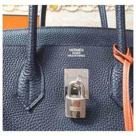 Hermès-HERMES BIRKIN 35 Black leather handbag-Black