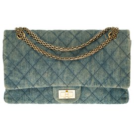 Chanel-2.55 Reissue 227 in blue quilted denim, bronze-colored metal trim-Blue