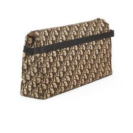 Christian Dior-BROWN MONOGRAM CLUTCH VANITY XL-Brown,Beige