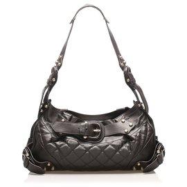 Burberry-Burberry Black Quilted Leather Shoulder Bag-Black