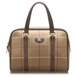 Burberry-Burberry Brown Plaid Canvas Handbag-Brown,Multiple colors