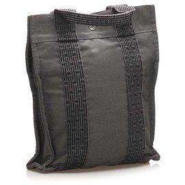 Hermès-Hermes Gray Herline Canvas Backpack-Grey