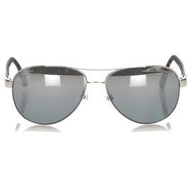 Chanel-Chanel Black Aviator Tinted Sunglasses-Black